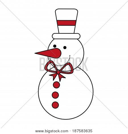 color silhouette image of snowman with bow tie and hat vector illustration