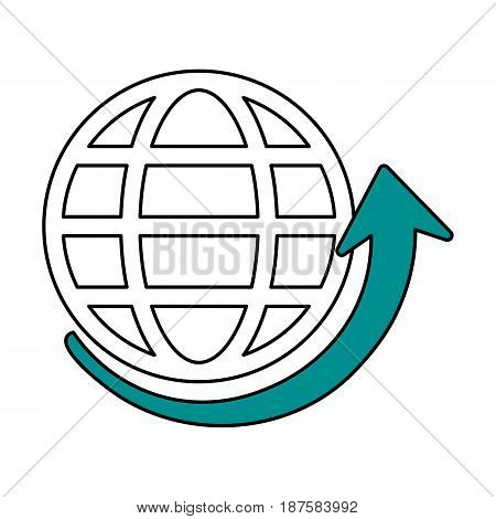 color silhouette image of globe earth with parallels and meridians and arrow bottom vector illustration
