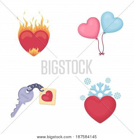 Hot heart, balloons, a key with a charm, a cold heart. Romantic set collection icons in cartoon style vector symbol stock illustration .