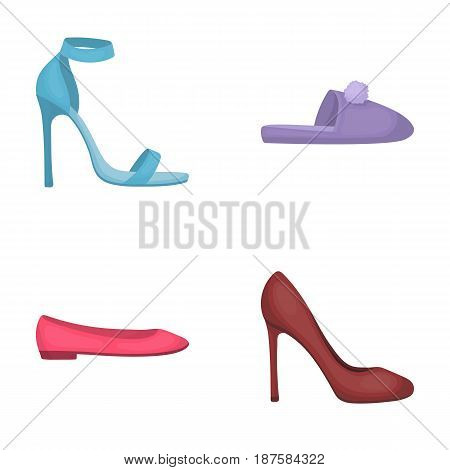 Blue high-heeled sandals, homemade lilac slippers with a pampon, pink women s ballet flats, brown high-heeled shoes. Shoes set collection icons in cartoon style vector symbol stock illustration .