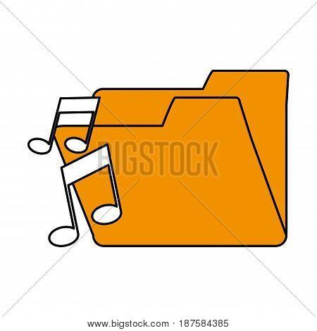 color silhouette image of music folder vector illustration