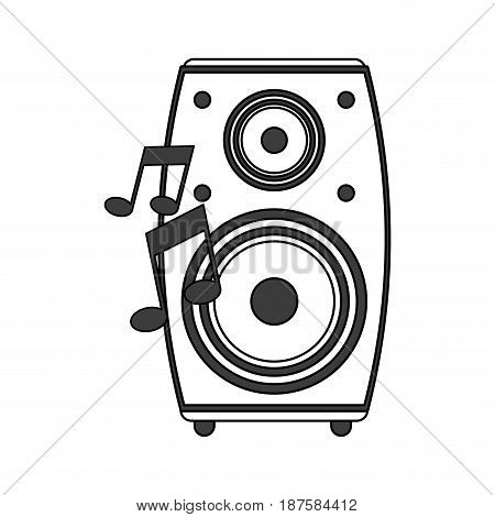 monochrome silhouette image of loudspeaker in wood box vector illustration