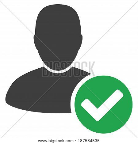 Valid User flat vector pictograph. An isolated illustration on a white background.