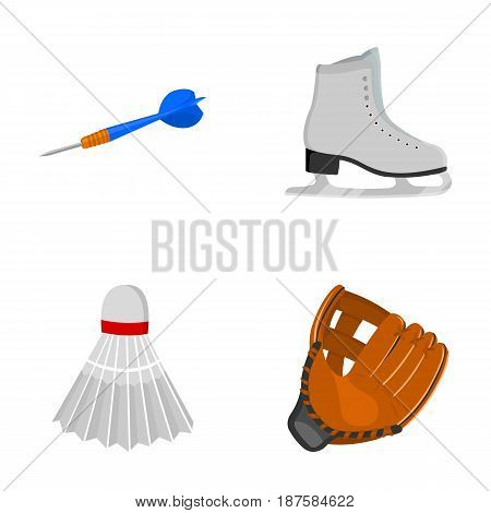 Darts darts, white skate skates, badminton shuttlecock, glove for the game.Sport set collection icons in cartoon style vector symbol stock illustration .
