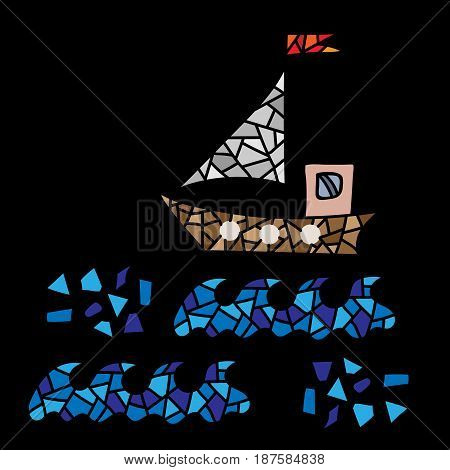 Polygonal style ship isolated on the black background. Design colorful element for logo label emblem sign poster t-shirt print. Vector illustration.