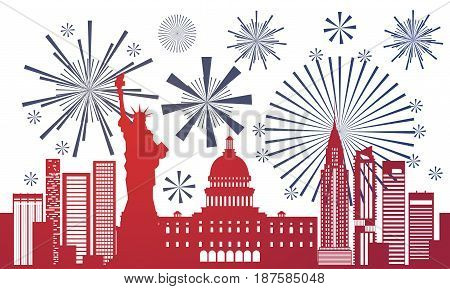 Silhouette United States Landmarks Independence Day Holiday 4 July Banner Flat Vector Illustration