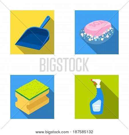 Blue scoop for garbage, pink soap with foam, sponge for washing, pulvelizer for with a means for windows. Cleaning set collection icons in flat style vector symbol stock illustration .