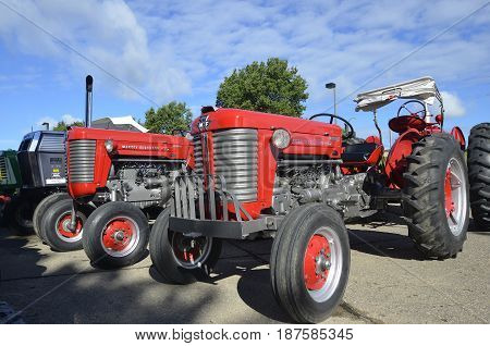 YANKTON, SOUTH DAKOTA, August 19, 2106: The restored Massey Ferguson tactors are displayed at the annual Riverboat Days celebrated the third weekend of August in Yankton.