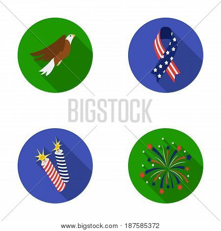 American eagle, ribbon, salute. The patriot s day set collection icons in flat style vector symbol stock illustration .