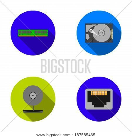 Webcam, memory card, hard drive, connector. Personal computer set collection icons in flat style vector symbol stock illustration .
