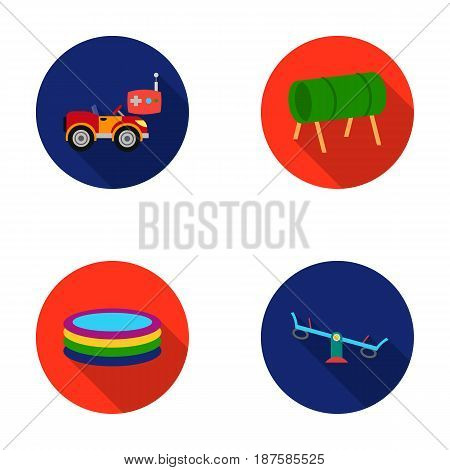Machine for radio control, tunnel, trampoline, swing. Playground set collection icons in flat style vector symbol stock illustration .
