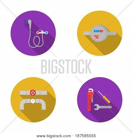 Shower, faucet, water meter and other equipment.Plumbing set collection icons in flat style vector symbol stock illustration .