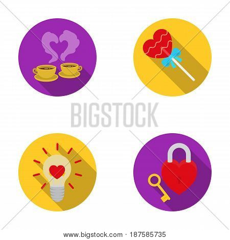 Cups with coffee, valentine, lamp, lock with key. Romantic set collection icons in flat style vector symbol stock illustration .