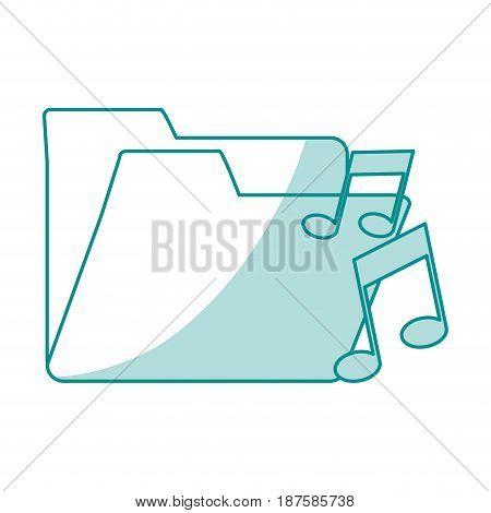 blue shading silhouette of music folder vector illustration