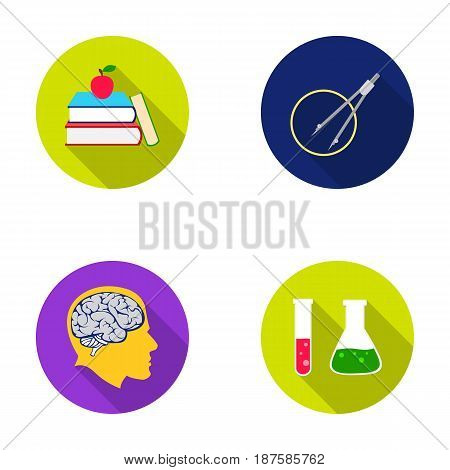 Books, an apple, a man s head with a brain, test tubes with a reagent, a compass with a circle. School set collection icons in flat style vector symbol stock illustration .