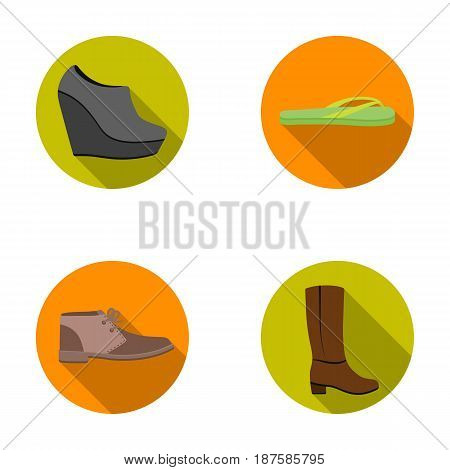 Autumn black shoes on a high platform, flip-flops green for relaxation, sandy men s autumn shoes, high brown boots. Shoes set collection icons in flat style vector symbol stock illustration .