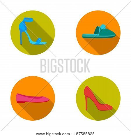Blue high-heeled sandals, homemade lilac slippers with a pampon, pink women s ballet flats, brown high-heeled shoes. Shoes set collection icons in flat style vector symbol stock illustration .