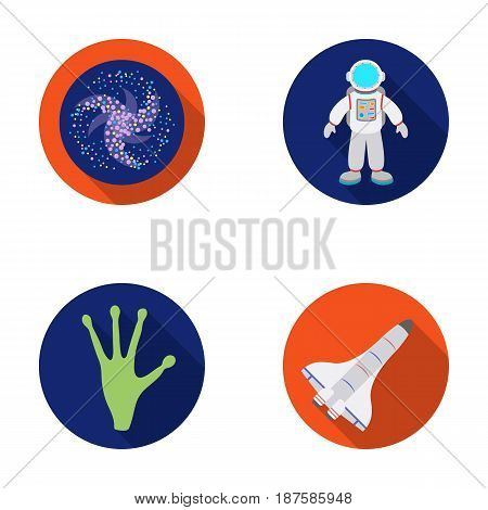 The alien s hand, the space shuttle ship Space Shuttle, the astronaut in the spacesuit, the black hole with the stars. Space set collection icons in flat style vector symbol stock illustration .