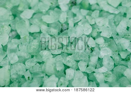 Surface coated with the salt crystals as a shallow depth of field backdrop composition