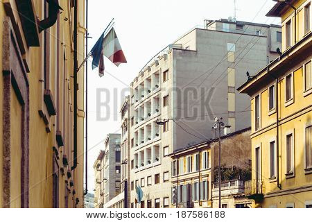 street view of downtown milan, capital of the Lombardy region, ranking 4th in the European Union