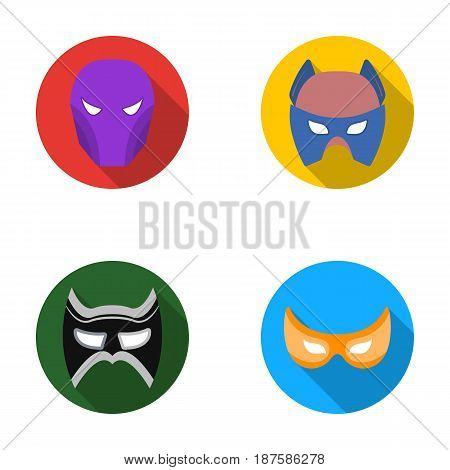 Mask on the head and eyes. Super Hero Mask set collection icons in flat style vector symbol stock illustration .
