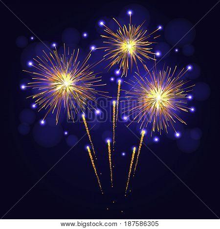 Holidays Golden Yellow Fireworks