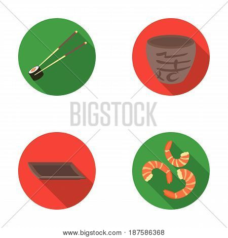 Sticks, shrimp, substrate, bowl.Sushi set collection icons in flat style vector symbol stock illustration .