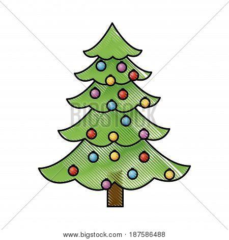christmas tree balls decorations festive plant vector illustration