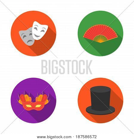 Theatrical mask, cylinder, fan, mask on the eyes. Theater set collection icons in flat style vector symbol stock illustration .