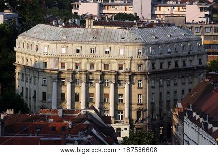 ZAGREB, CROATIA - MAY 31: Facade of the old city building in city center of Zagreb, Croatia on May 31, 2015
