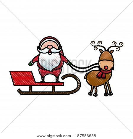 santa claus rides in a sleigh in harness on the reindeer vector illustration