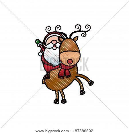 santa riding a reindeer in christmas cartoon vector illustration