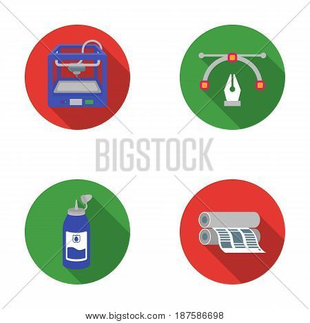 3D printer, newspaper printer, ink, pen. Typography set collection icons in flat style vector symbol stock illustration .