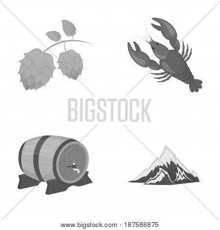 Alps, a barrel of beer, lobster, hops. Oktoberfestset collection icons in outline style vector symbol stock illustration .