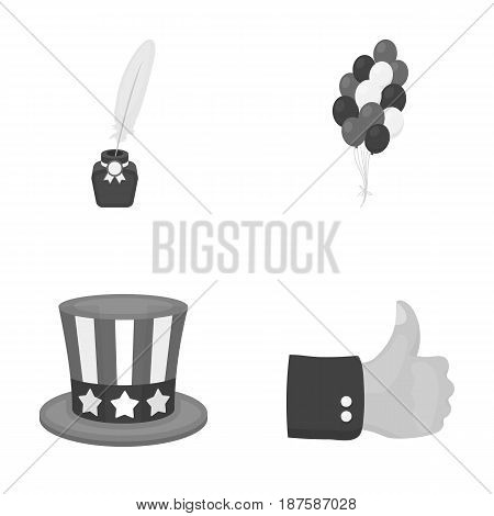 Balloons, inkwell with a pen, Uncle Sam s hat. The patriot s day set collection icons in monochrome style vector symbol stock illustration .