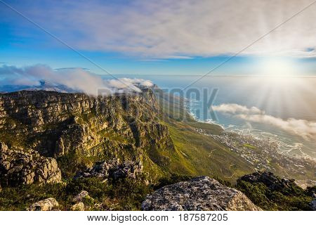 Top view of the Atlantic Ocean in a great day in April. National Park Table Mountain South Africa, Cape Town