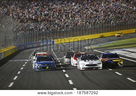 May 20, 2017 - Concord, NC, USA: Brad Keselowski (2) battles for position during the Monster Energy NASCAR All-Star Race at Charlotte Motor Speedway in Concord, NC.