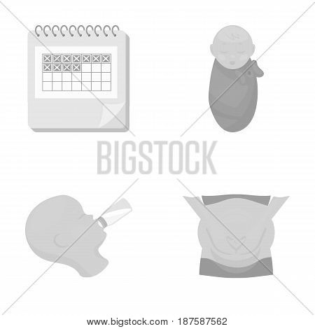Calendar, newborn, stomach massage, artificial feeding. Pregnancy set collection icons in monochrome style vector symbol stock illustration flat.