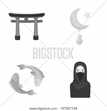 Torii, carp koi, woman in hijab, star and crescent. Religion set collection icons in monochrome style vector symbol stock illustration .