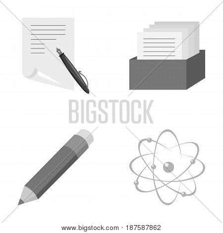 A pen with paper, a catalog in a box, a red pencil, an atom with a core. School set collection icons in monochrome style vector symbol stock illustration .