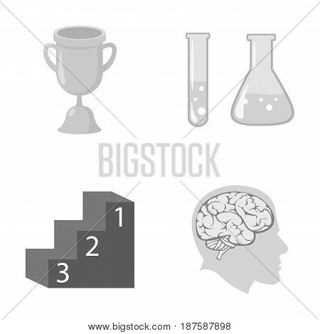 A cup, test tubes with a reagent, a pedestal, a man s head with a brain. School set collection icons in monochrome style vector symbol stock illustration .