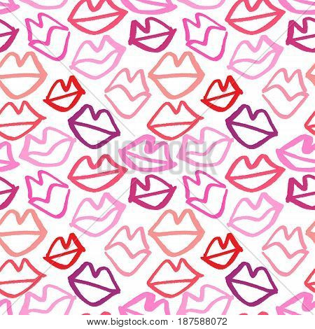 Vector hand drawn seamless pattern with lips. Abstract fashion background with outlined lips.