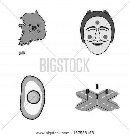 A map of the state with a flag, a Korean mask, a national egg meal, a crossroads with traffic lights. South Korea set collection icons in monochrome style vector symbol stock illustration .