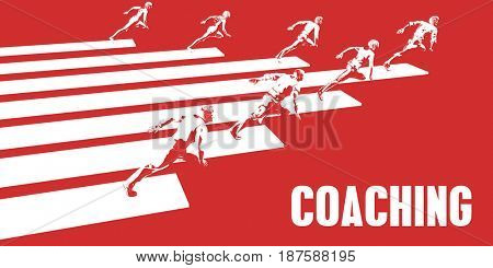 Coaching with Business People Running in a Path 3D Illustration Render