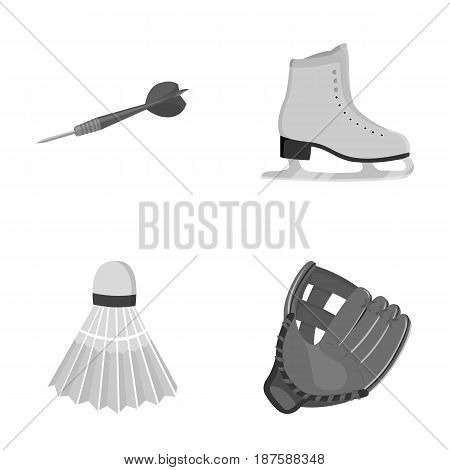 Darts darts, white skate skates, badminton shuttlecock, glove for the game.Sport set collection icons in monochrome style vector symbol stock illustration .