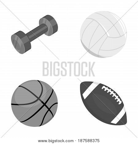 Blue dumbbell, white soccer ball, basketball, rugby ball. Sport set collection icons in monochrome style vector symbol stock illustration .