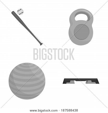 A bat with a ball for baseball, a weight for muscles, a ball for playing, a bench for fitness. Sport set collection icons in monochrome style vector symbol stock illustration .