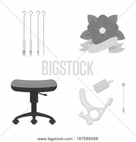 Chair on rollers, needles for tattoo and other equipment. Tattoo set collection icons in monochrome style vector symbol stock illustration .