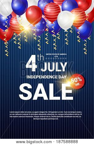 Shopping Sale To United States Independence Day Holiday 4 July Discount Banner Flat Vector Illustration