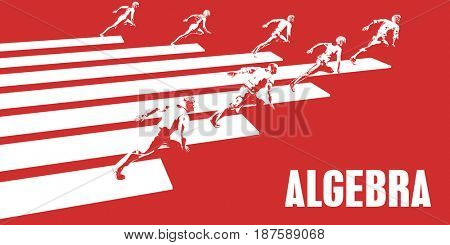 Algebra with Business People Running in a Path 3D Illustration Render